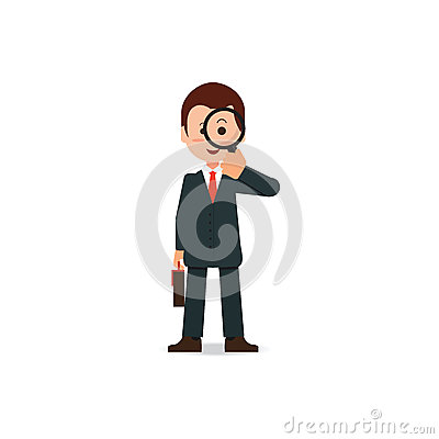 Businessman looking through a magnifying glass. Vector Illustration