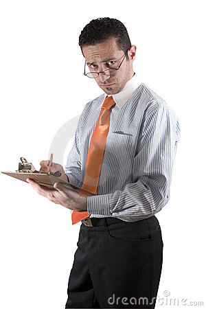 Businessman looking over his glasses with clipboard on hand - fr