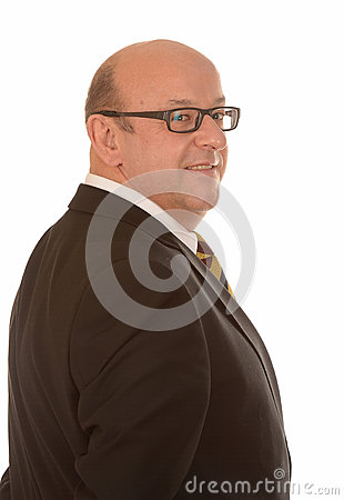 Businessman looking over shoulder
