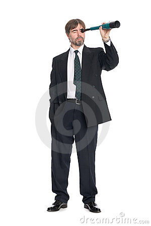 Businessman looking a spyglass