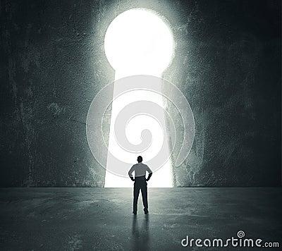 Free Businessman Looking Through Key Hole Royalty Free Stock Image - 37098726