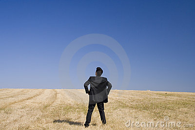 Businessman looking to the future