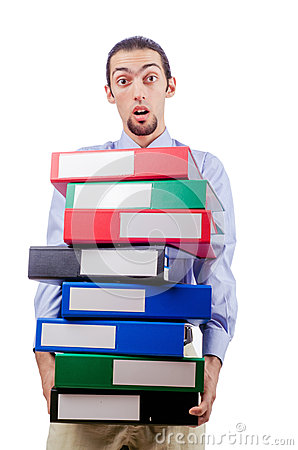 Businessman with lots of folders