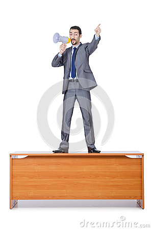 Businessman with loudspeaker