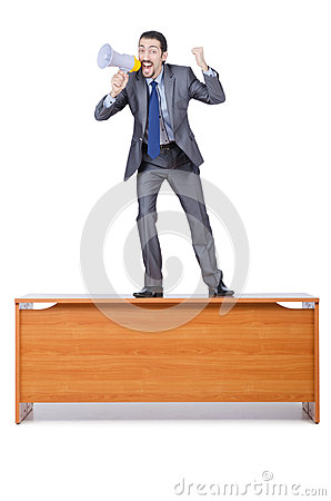 Businessman with loudspeaker