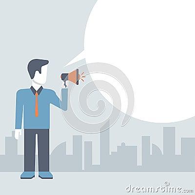 Free Businessman Loudspeaker Promotion Concept Comic Flat Template Stock Image - 46318501