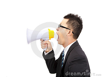 Businessman make loud noise