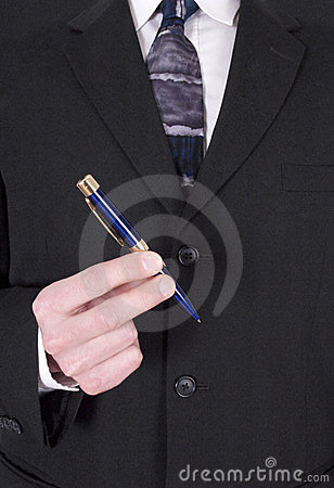 Businessman Making Deal, Signing Contract With Pen