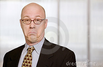 Businessman making a funny face