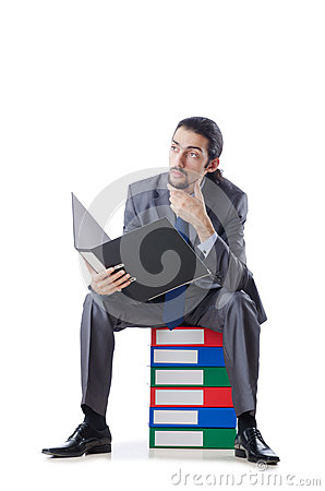 Businessman with many folders
