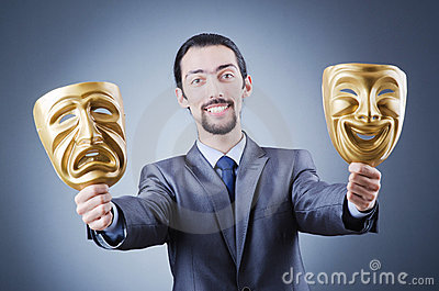 Businessman with mask concealing  identity