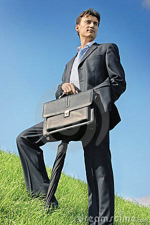 Businessman at the meadow