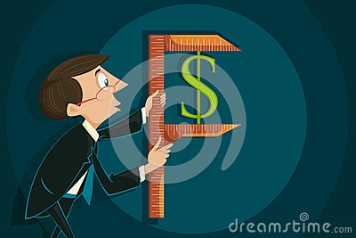 Businessman measuring Dollar