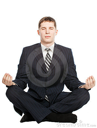 Businessman meditate , Isolated on white