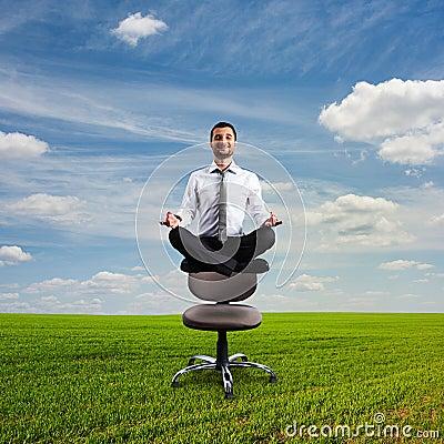 Businessman is meditating