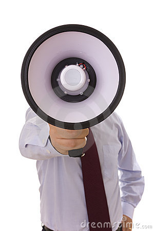 Businessman at the megaphone