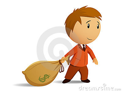 Businessman with money bag