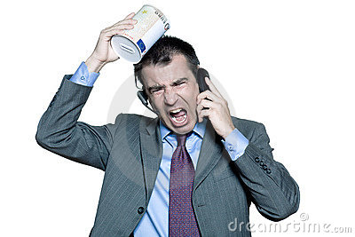 businessman moneybox shouting on phone