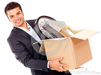Businessman moving office