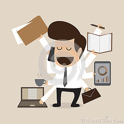 Businessman with multi tasking and multi skill