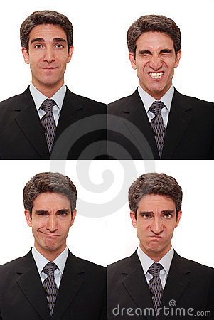 Businessman with multiple expressions