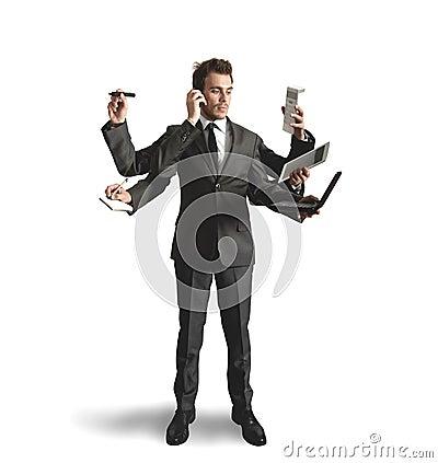 Free Businessman Multitasking Royalty Free Stock Image - 25640436