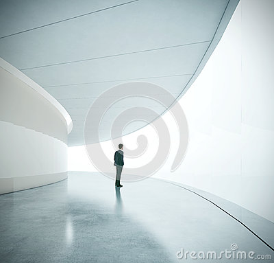 Free Businessman Near The Wide Futurictic Screen Stock Image - 45780291
