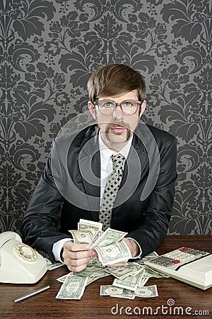 Businessman nerd accountant dollar notes