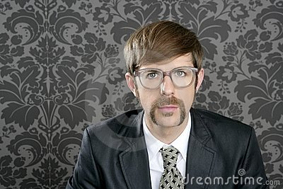 Businessman nerd retro glasses  portrait