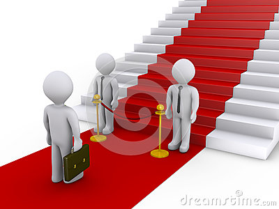 Businessman no access to stairs with red carpet