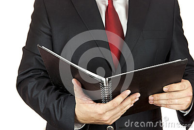 Businessman and notebook