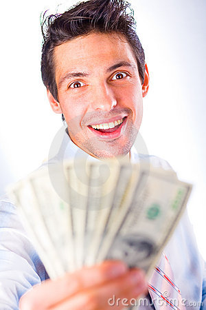 Businessman offers money, smiles