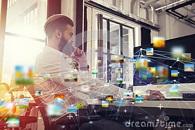 Businessman in office connected on internet network. concept of startup company Stock Photo