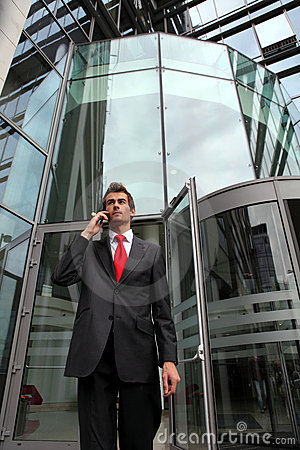 Businessman at office exterior