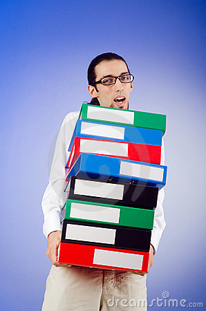 Businessman with  office folders