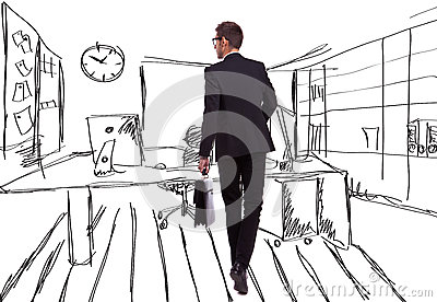 Businessman on an office like sketched background