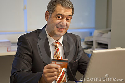Businessman online market buy credit card