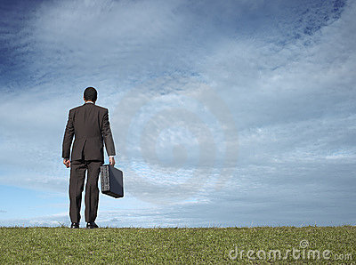 Businessman in open field