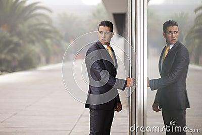 Businessman open the office door