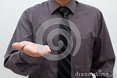 Businessman open palm hand