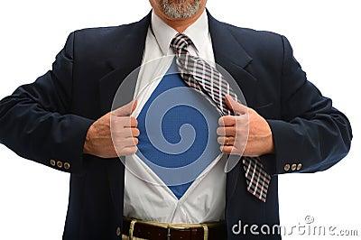Businessman Opening Shirt to Reveal Super Hero Costume