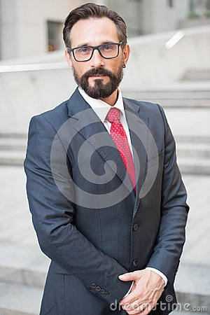 Free Businessman Outdoor On Office Center Background. Successful Business Person Portrait. Professional People Royalty Free Stock Image - 119656046