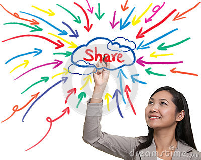 Businessman painting share idea diagram