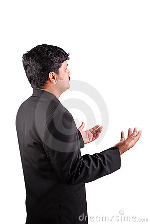 Businessman with palms up