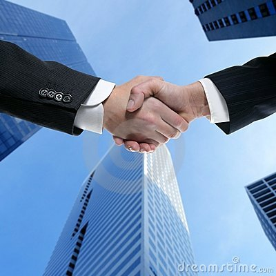 Businessman partners shaking hands with suit