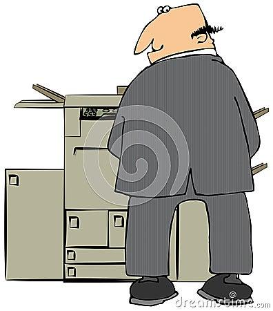Businessman Peeing On A Copier