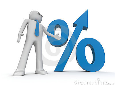 Businessman and percent sign with growth arrow