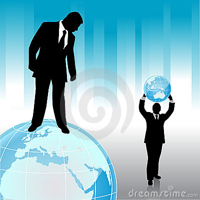 Businessman with planet