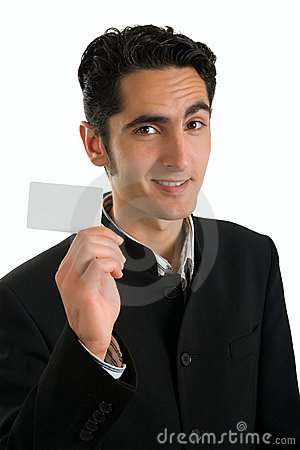 Businessman with plastic card.