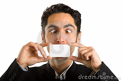 Businessman with plastic card. Humor.